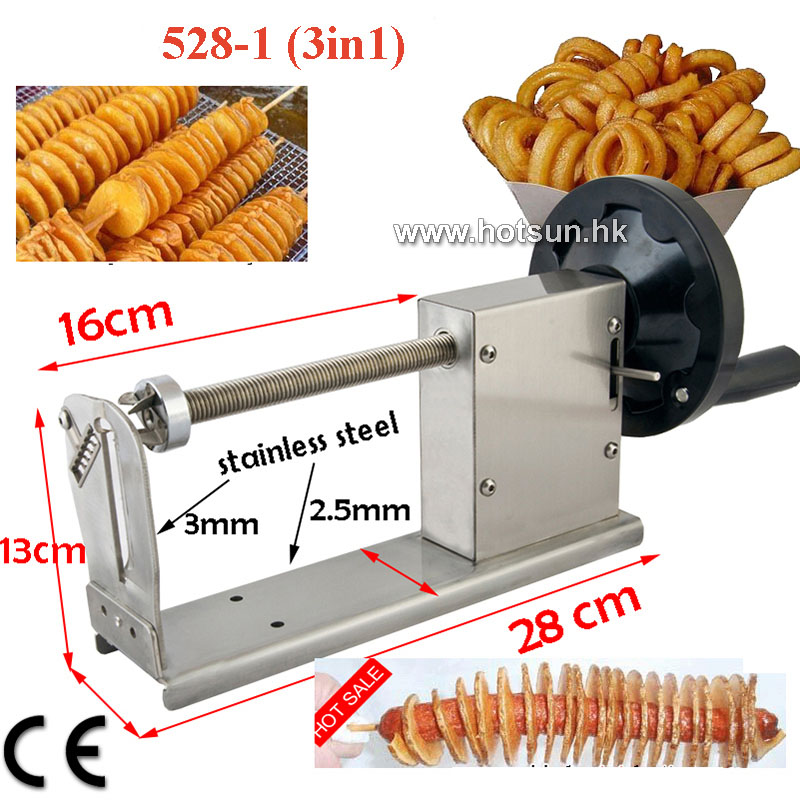 Freies Verschiffen Commercial Hand Spirale Kartoffelchips Lockige Frites Twist Hot Dog Cutter Slicer