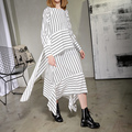 [soonyour] Plus size 2017 Spring Fashion New Loose Big size O-Neck Stripe Chalaza Split Joint Irregular Dress Woman Y07400