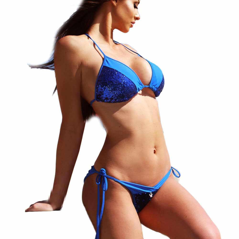 Femmes Sequin Bandage Split Bikini ensemble push-up rembourré soutien-gorge maillot de bain taille basse Skinny fronde maillot de bain 2019 nouveau maillots de bain