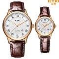 Eyki casal relógio de couro genuíno dos homens as mulheres se vestem de quartzo analógico relógio de pulso à prova d' água relógios relógio relogio feminino