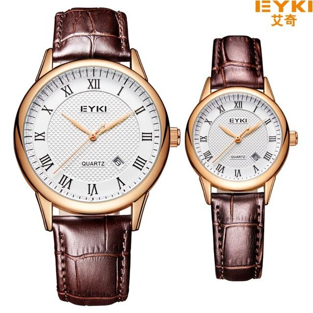 Eyki reloj de los pares del cuero genuino de los hombres de cuarzo analógico reloj de pulsera impermeable relojes mujer vestido reloj relogio feminino