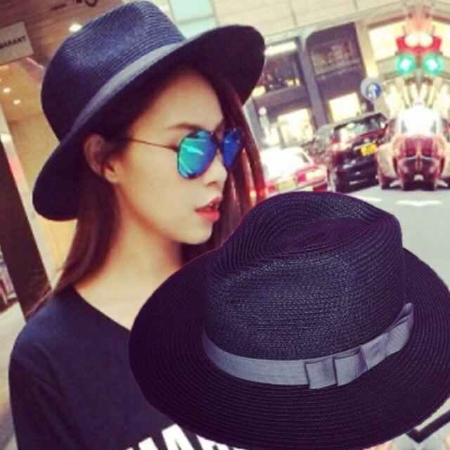 Женская летняя черно-белая шляпа Плоским вдоль шляпа солнца Соломенная шляпа пляж