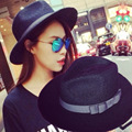 Fashion ladies summer black and white hat Flat along the sun hat Straw hat the beach
