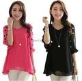 2016 new plus size chiffon blouse women summer shirt vintage dots print lantern sleeve woman top pink,black L,XL,XXL,3XL,4XL
