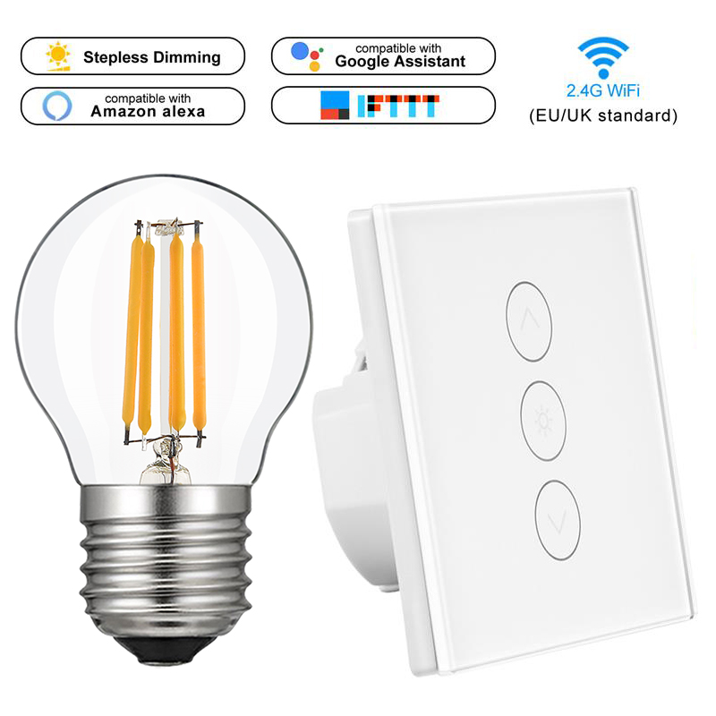 Smart home LED Dimmer Switch Panel +E27 dimmer Bulb EU standard work with Alexa Google Home Voice Control Dimmer Lamp smart life
