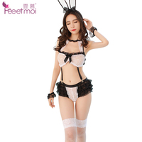 Feeetmoi Bunny Girl Cosplay Set Open Crotch Baby Doll Sexy Lingerie Women Sexy Uniform Cake Lace