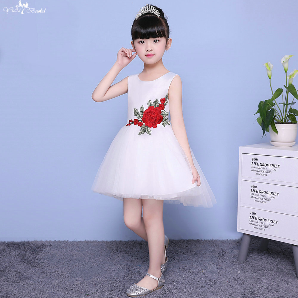 LZC008 Ball Gowns   Girls     Flower     Girl     Dress   Satin Embroidery   Flower     Girls   Gown