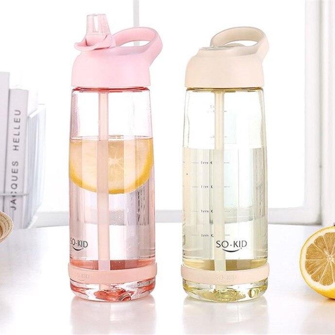 חדש עיצוב ספורט בקבוק מים עם קש נייד נסיעות אופניים ידית ספורט בקבוקים בריא פלסטיק Drinkware BPA חינם
