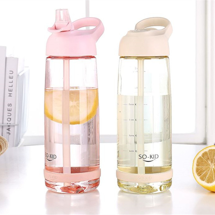 Neue Design Sport Wasser Flasche Mit Stroh Tragbare Reise Fahrrad Griff Sport Flaschen Gesunde Kunststoff Drink BPA FREI