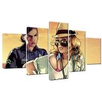 5 stuks canvas Cartoon grand theft auto V muur Canvas Print Poster Game Hot gta 5 Beelden Voor Woondecoratie Schilderen