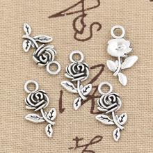30 Uds encantos flor Rosa 21x13mm artesanía hecha a mano Fabricación de colgantes fit, Vintage tibetano color plateado bronce, DIY para collar de pulsera
