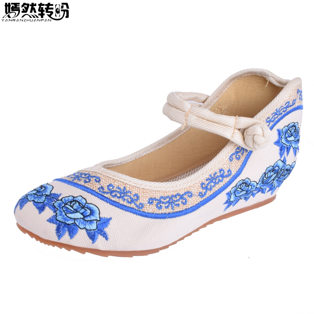 Newest Old Peking Cloth Embroidery Shoes Pointed Toe Flats Mary Janes Walking Dance Soft Heel Flat Shoes Size 34- 41 Mix Colors peacock embroidery women shoes old peking mary jane flat heel denim flats soft sole women dance casual shoes height increase
