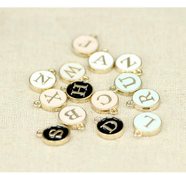 10pcs 12*15MM Round METAL gold enamel alphabet charms fashion color capital letter beads initial pendants alloy jewelry making