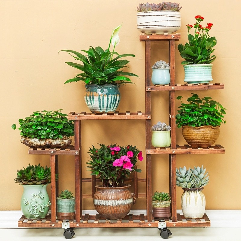 X26 Carbonized wood Damp proof Antiseptic Flower Rack Multi layer Plant Stand Shelves Garden Patio Balcony