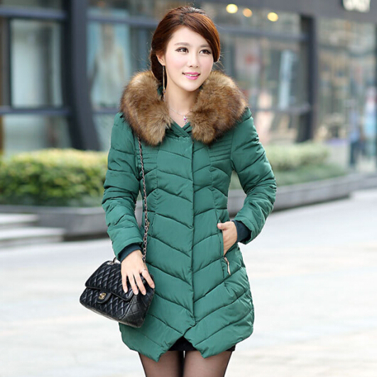New Fashion Women Cotton Long sections Big Collar Down Coat Thick Long Coat for women Female cotton Plus Size Winter Coat JX103