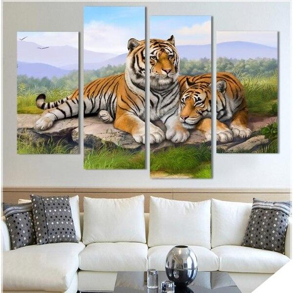 Лидер продаж тигр животное картина маслом на холсте печатных стены Книги по искусству фотографии для Гостиная модные Домашний Декор