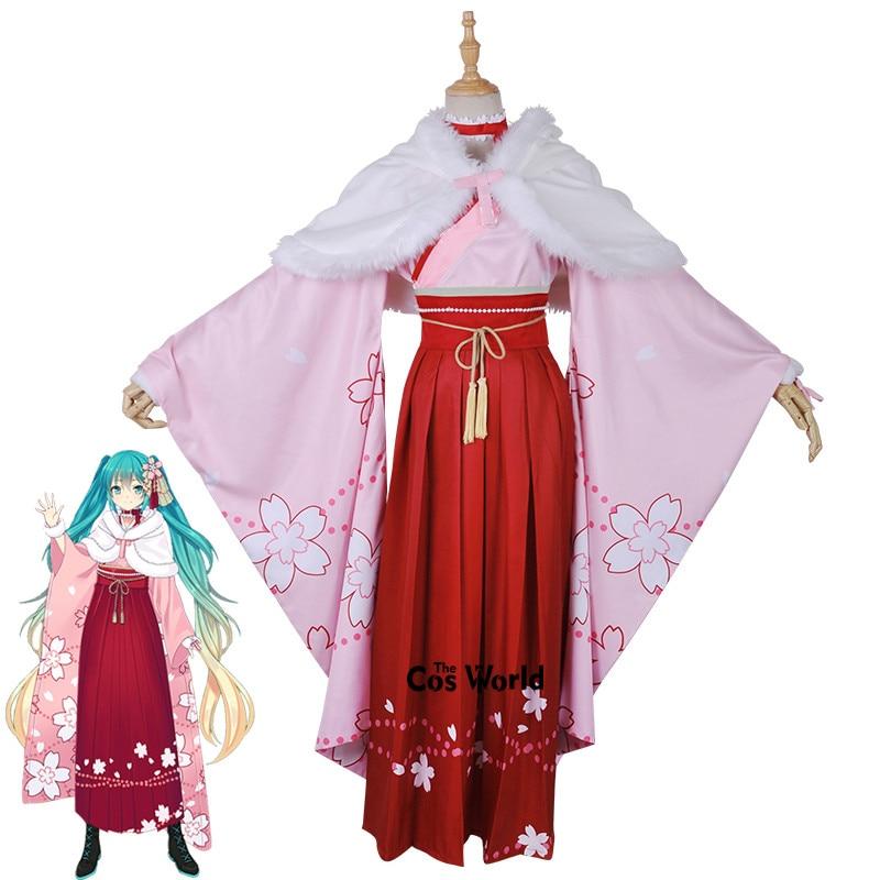 VOCALOID Hatsune F Miku Project Diva Cosplay Costume Red Crane Kimono