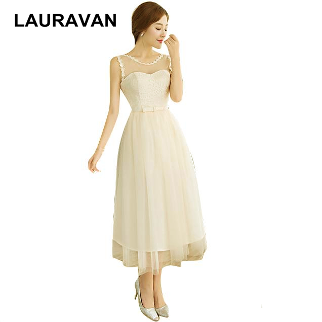 romantic short tea length tulle sexy birthday champagne color girls dress fancy modest evening dresses ball gown with bows