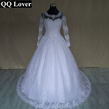 QQ Lover 2017 Vintage Lace Wedding Dress Vestido De Noiva Bridal Gown Long Sleeves Appliques and Lace up Back With Pictures