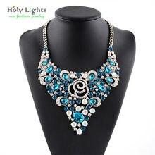 2016 Multicolor Gem Rhinestone de la resina collar collar Más Nuevo de La Manera mujer Aleación colgantes Collar llamativo mujeres joyería del encanto