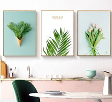 цена на Ice Cream Green Leaf Pink Tulip Flowers Wall Prints Canvas Paintings Posters And Prints Gold Letter Canvas Pictures Art Unframed