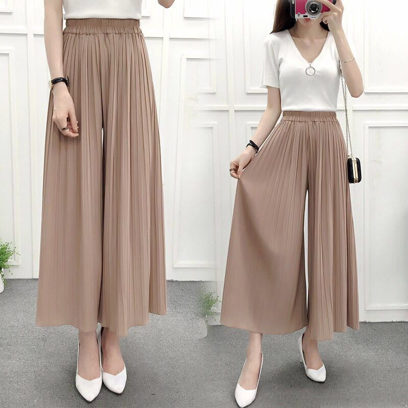 Ladies Wide Leg Trousers Solid Color Thin Loose Casual Pants For Summer -MX8
