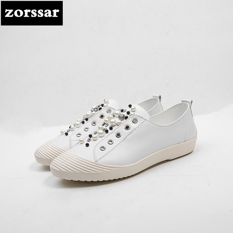 {Zorssar} Brands Genuine cow leather Womens sneakers Casual Lace-up flats shoes 2018 New Fashion pearl women flat heel loafers instantarts casual teen girls flats shoes appaloosa horse flower pattern women lace up sneakers fashion comfort mesh flat shoes
