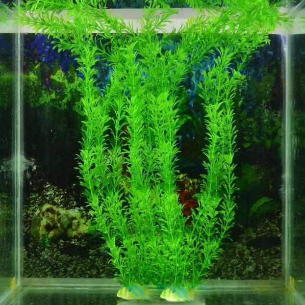 Pretty Green 13 Artificial Grass Decoration Water Fish Tank Aquarium Accessories Decor Weed Ornament Plant Plastic Ceramic 32cm