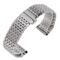 20mm Silver Top Quality Stainless Steel Watch Mesh Bracelet With Double Push Watchband