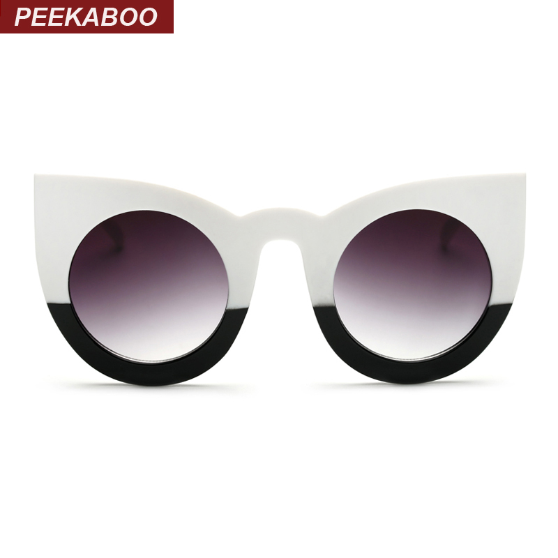 Peekaboo 2017 moda sexy ronda cat eye sunglasses gradient white black big ladies gafas de sol para mujer cat eye luxury oculos