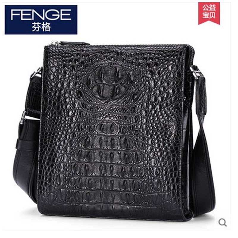 Fenge men crocodile leather single shoulder men bag man casual crocodile leather satchel fashion male package import crocodile casual canvas satchel men sling bag