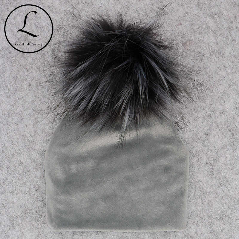 f8d23a7927e Autumn Winter Thicker Warm Velvet Childs Kids Faux Fur Pompom Beanies Hats  2018 Soft Newborn baby