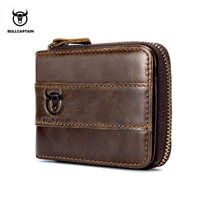 BULLCAPTAIN 2017 New Arrival Mens Wallet Cowhide Coin Purse Slim RFID Carteira Designer Brand Wallet Clutch