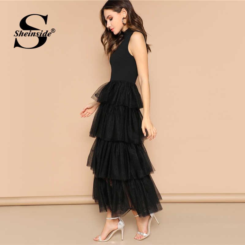 Sheinside, черное, без рукавов, многослойное, контрастное, Сетчатое, с гофрированным подолом, вечерние платья для женщин 2019, летние, элегантные, с оборками, Макси платья