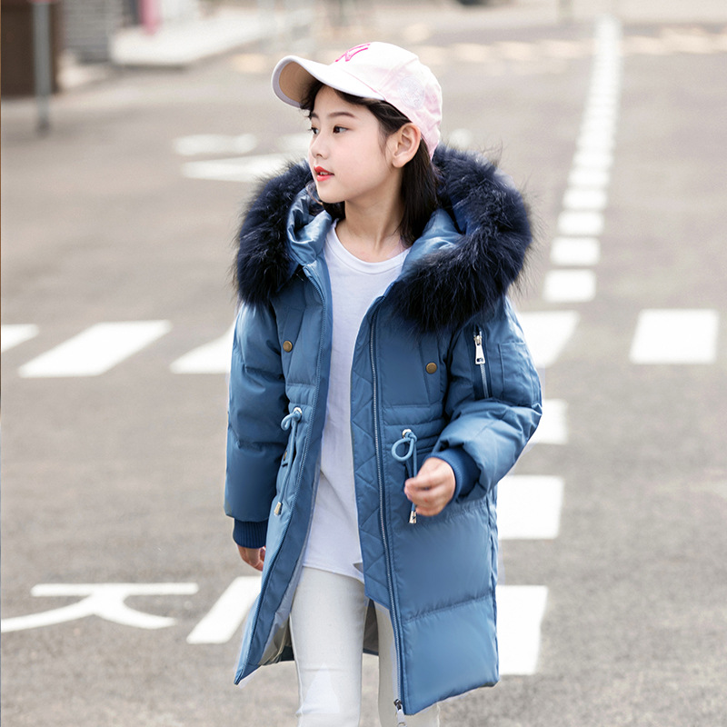 Girls Boys down jacket long section thick winter clothing -30 degree children's hooded down jacket for kids 6 8 10 12 14 Years купить в Москве 2019