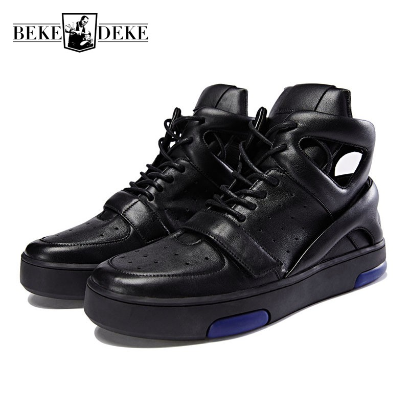England Style Hollow Out Breathable Mens Genuine Leather Shoes Luxury Platform Antiskid Sandals High Top Lace Up Mens Sandals