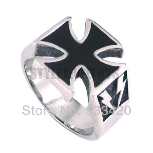 Free Shipping Black Cross Ring Stainless Steel Jewelry Gothic Punk Biker Ring SWR0125B
