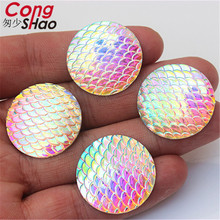 Cong Shao 50Pcs 25mm AB Clear Round Fish scales Resin Rhinestones stones  crystals Flatback for Wedding fa88fcd9db06