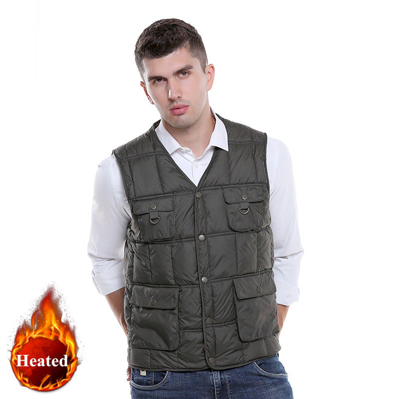 USB Ultra-thin Winter Electric Heated Sleevless Hiking Vest Jacket, Winter Warm Down Infrared Heated Outerwear Coats Slim Fit new charging heated down vest man skiing vest winter warm down thick vest camping hiking keep body warm black s xxxl