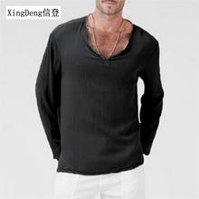 XingDeng новые мужские модные футболки с длинными рукавами летняя хлопковая футболка рубашка хиппи с v-образным вырезом пляжный топ повседневная мужская одежда