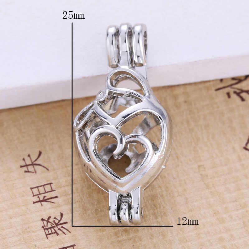 6pcs Bright Silver heart Hollow ออกแบบเครื่องประดับทำอุปกรณ์อลูมิเนียมอินเทรนด์ Pearl Cage จี้น้ำมันหอมระเหย Diffuser
