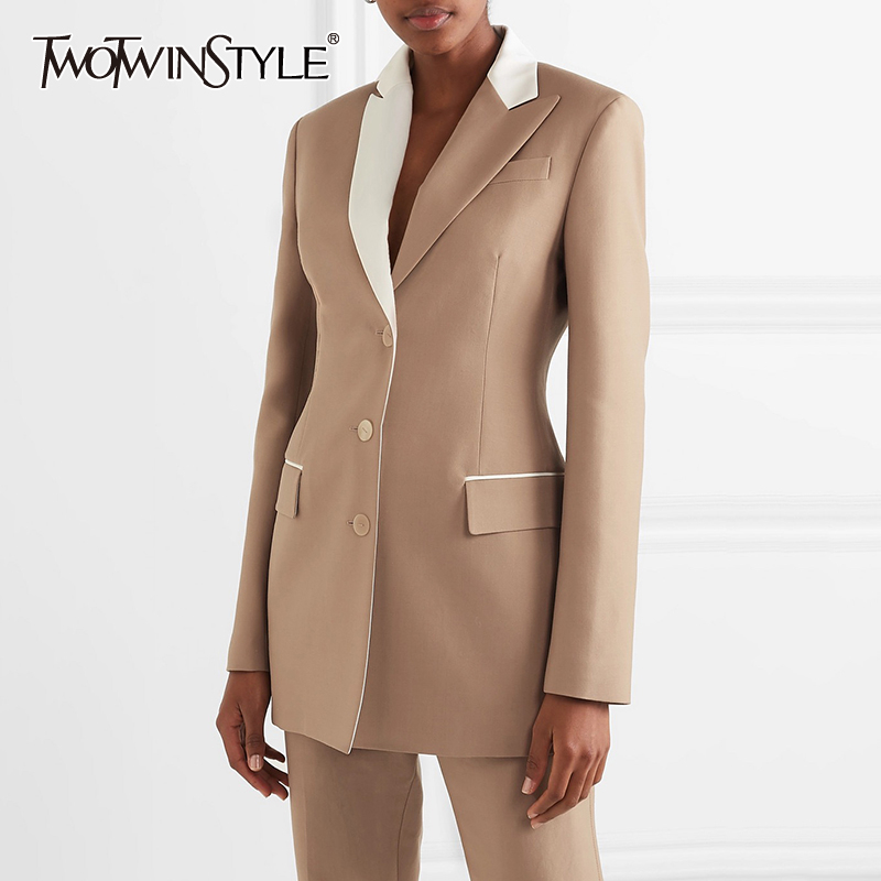 TWOTWINSTYLE Elegant Solid Blazer For Women Notched Collar Long Sleeve Hit Color Large Size Coats Female 2019 Fashion Autumn