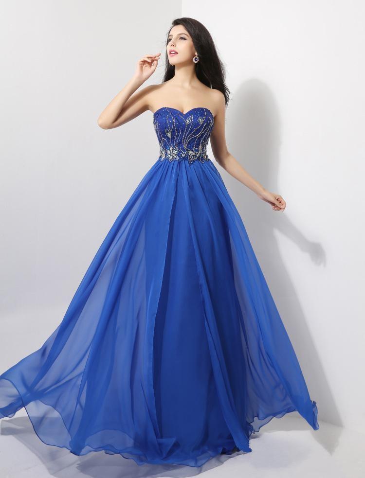 44f40664b Vestidos de noche largos azul electrico - Vestido azul