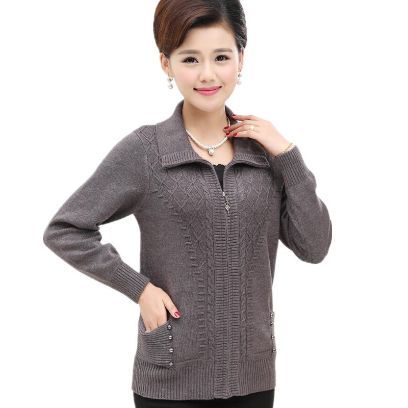 L-XXXL Cardigan Women Knitted Spring Autumn Fashion Turndown Collar Zipper Cardigans Long Sleeve Mother Coat MA0026