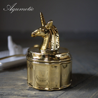 Aqumotic Golden Unicorn Jar Jewelry Box Romantic Ring Box / Lover Gift Small Unicorn Cans Exquisite High Quality