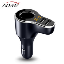 AOZBZ DC 12-24V Car Cigarette Lighter Socket Charger& 3.1A Dual USB Car Charger Adapter with Volmeter Support Fast Charge(China)