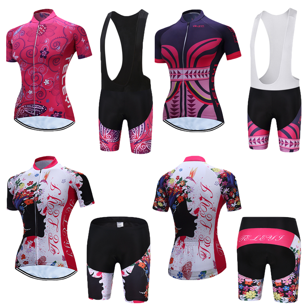 Female 2019 TELEYI Mtb Cycling Clothes Sets Women's Skinsuit Mtb Bike Clothing Triathlon Suit Uniform Wear Bicycle Jerseys Kits