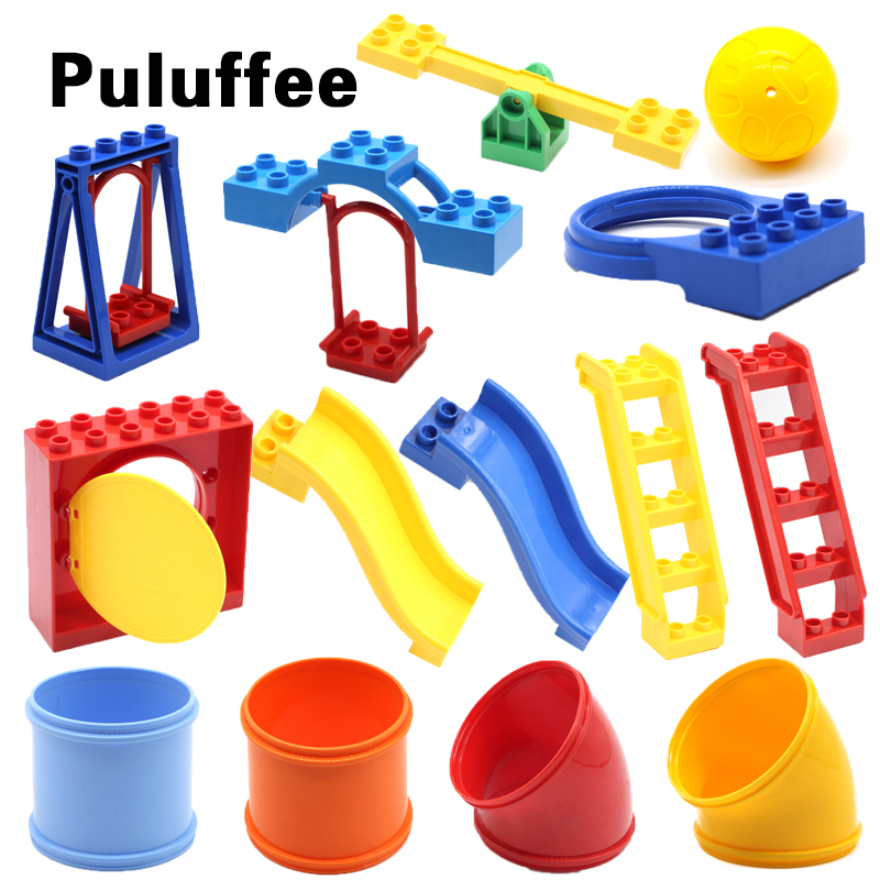 Round Sliding pipeline Swing ladder Set Bricks Big Particles Building Blocks Park accessory DIY Gift Toys Compatible with Duplo цена 2017