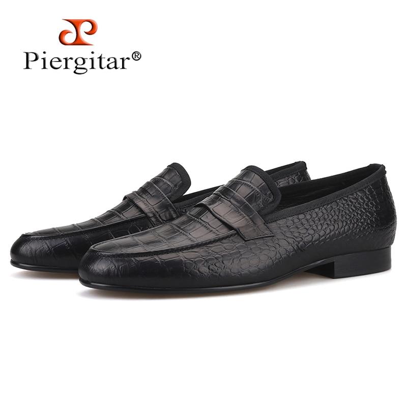 Piergitar Men's Shoes Men Loafers Genuine-Leather Flats Crocodile And Embossed Handmade