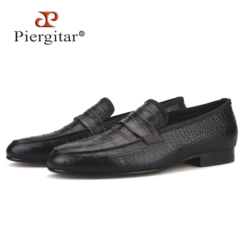Piergitar Handmade Crocodile embossed Genuine Leather Mens shoes party and wedding Men Loafers males Causal Flats plus sizePiergitar Handmade Crocodile embossed Genuine Leather Mens shoes party and wedding Men Loafers males Causal Flats plus size